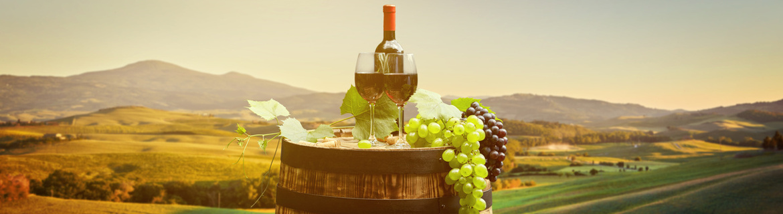 Eine Flasche Rotwein mit zwei Gläsern voll Rotwein auf einem Barrel Fass angerichtet mit einer weißen und einer roten Traubenrebe im Hintergrund die grüne Italienische Toskana Landschaft.