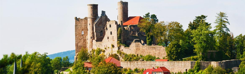 Burgruine von Schloss Hanstein in Thüringen, Deutschland.